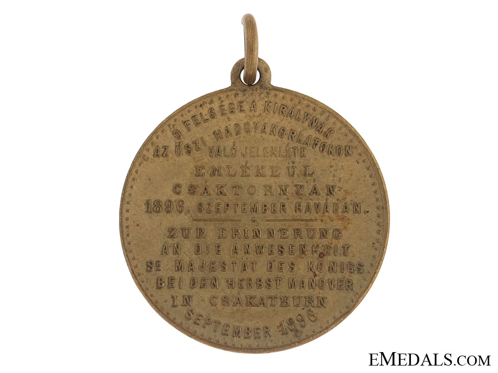 Franz Joseph at Cakovec Autumn Manoeuvres Commemorative Medal 1896