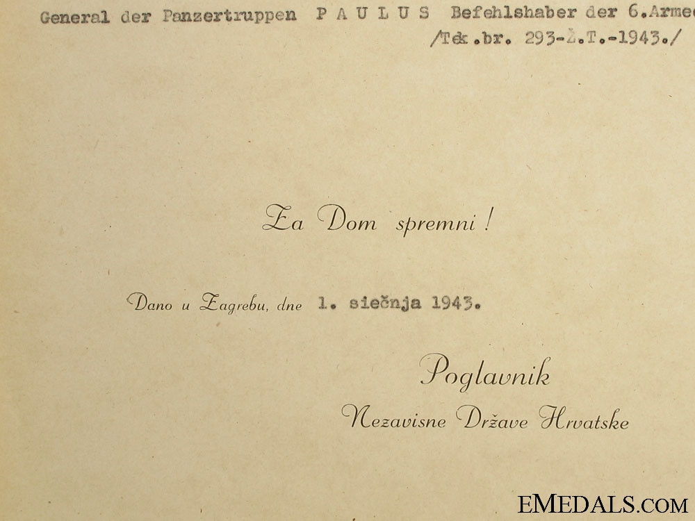 Award Doc. to General der Panzertruppen von Paulus