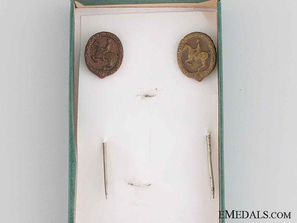 German Horseman's Badge and Stickpins