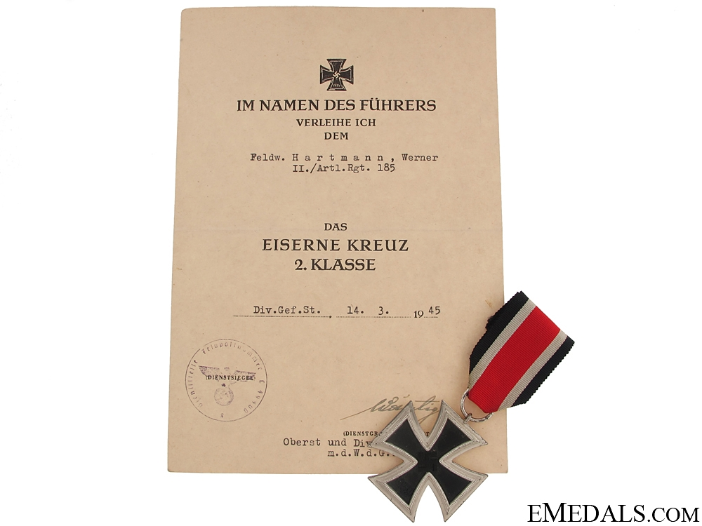Iron Cross Second Class 1939 & Document