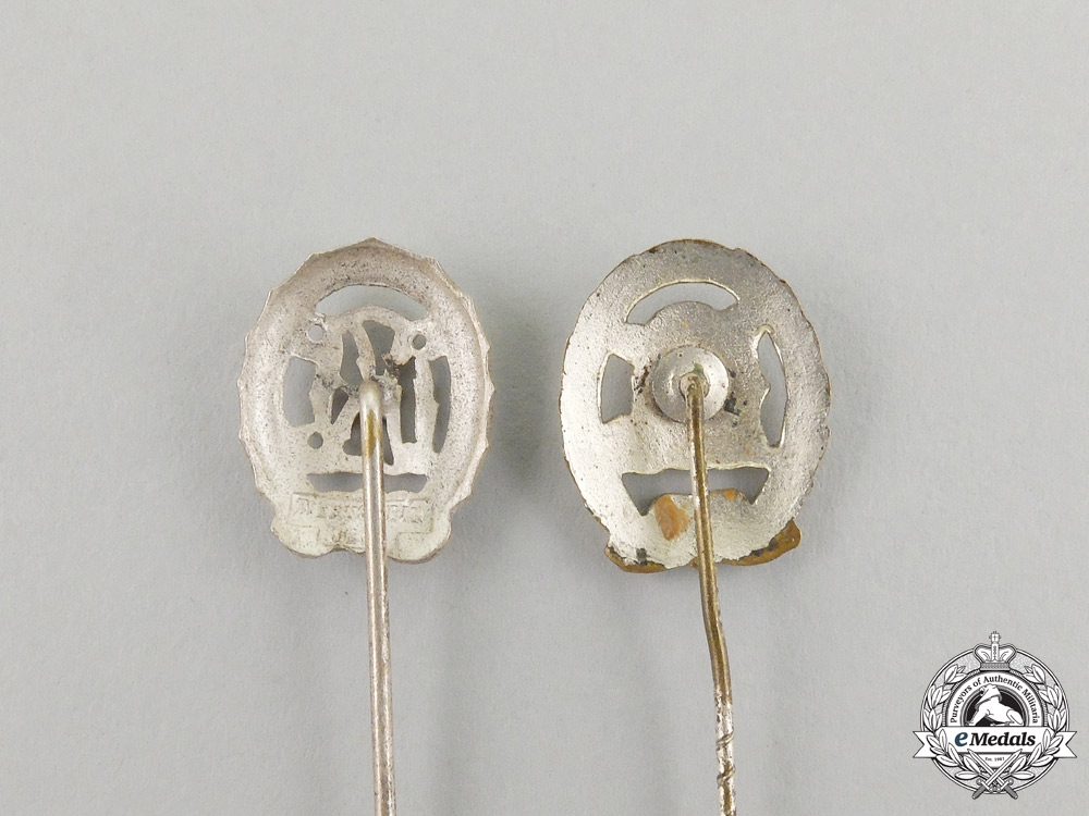 Two DRL Silver Grade Sports Badge Miniature Stick Pins