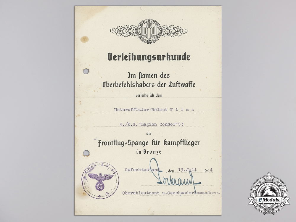 "Two Award Documents to Unteroffizier Helmut Wilms; ""Legion Condor"""