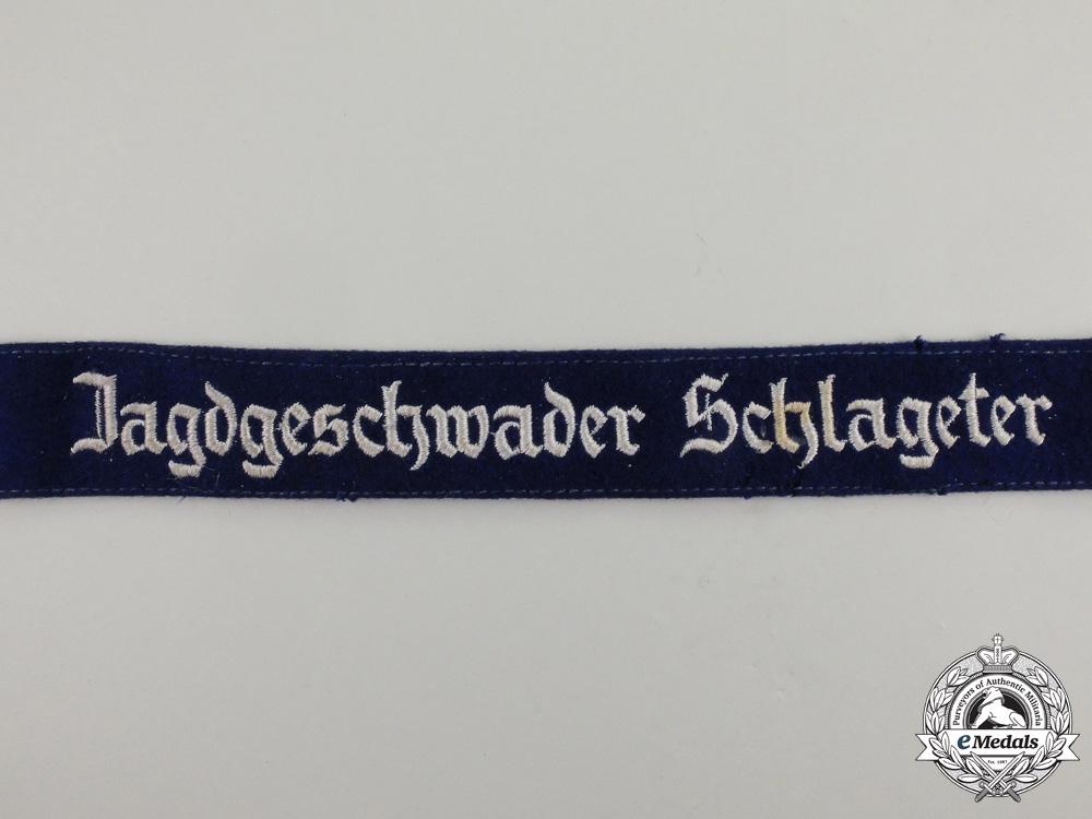 A Second War German Luftwaffe Jagdgeschwader Schlageter Cuff Title