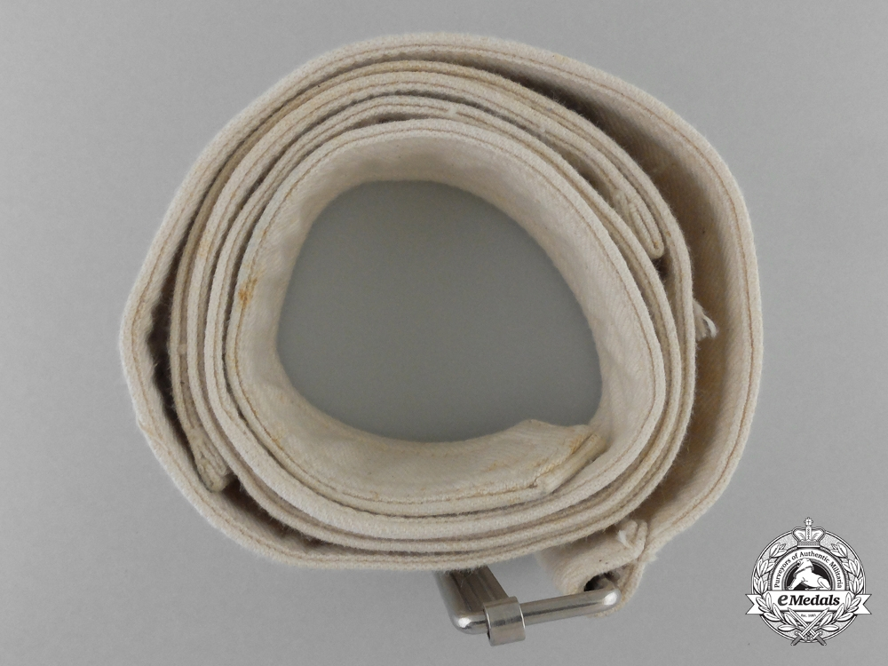 A German White Cloth Belt with Slider Buckle