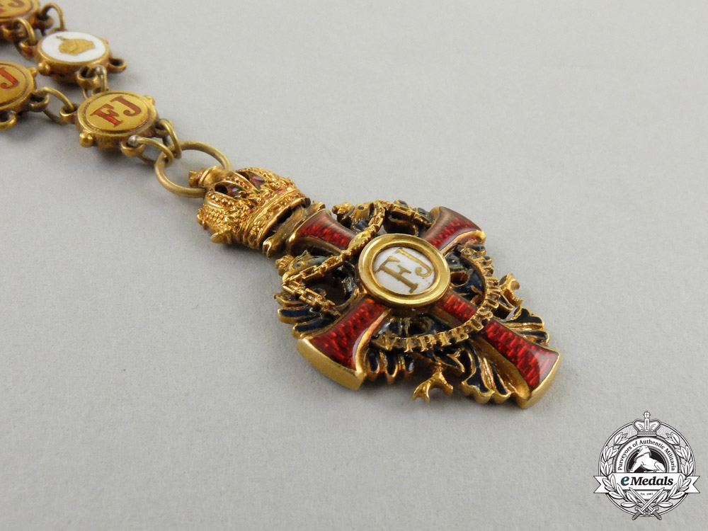 A Miniature Austrian Collar of the Order of Franz Joseph in Gold by Vincent Mayer Sons