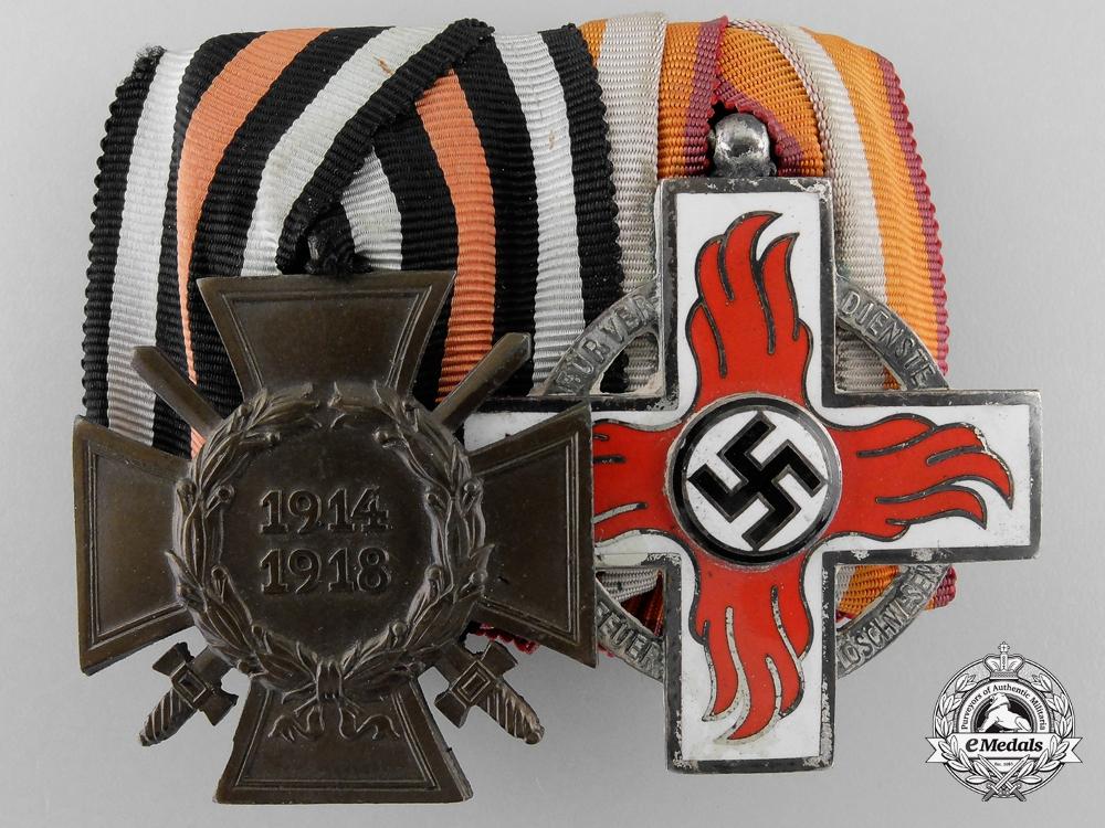 A German First War & Fire Service Award Pair