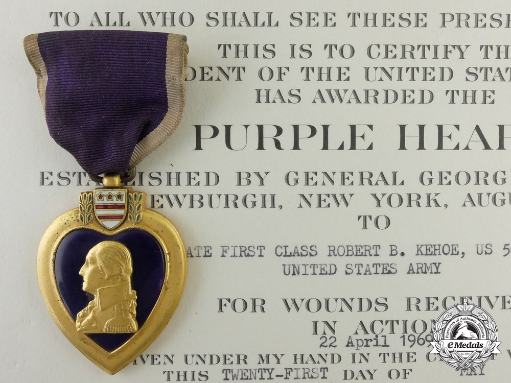 A Vietnam War Purple Heart & Document to Private First Class Kehoe; 19th Engineer Battalio