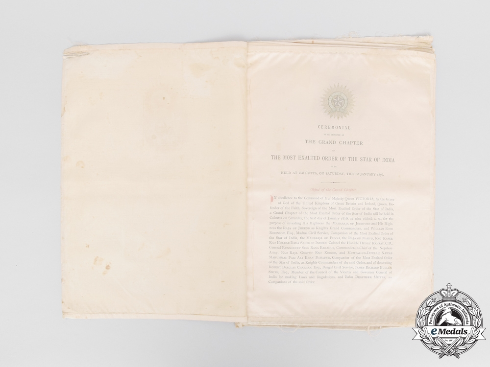 A British The Most Exalted Order of the Star of India Ceremonial Program 1876