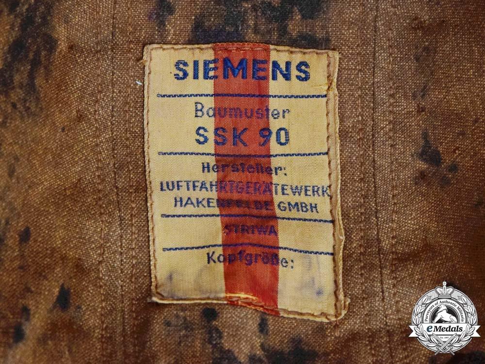Germany. A Scarce Luftwaffe Pilot's SKK-90 Anti-Flak Flight Helmet Manufactured by Siemens