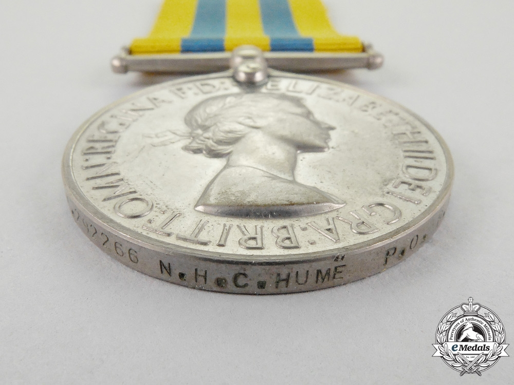 Great Britain. A British Korea Medal to Petty Officer N.H.C. Hume, Royal Navy