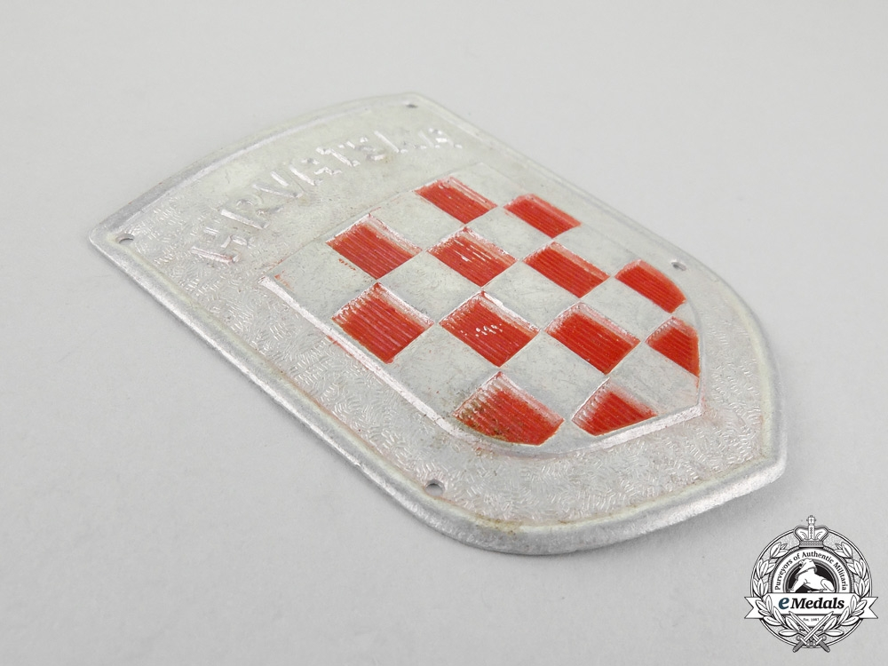 "A Second War Croatian ""Hrvatska"" Wehrmacht Volunteer Shield"
