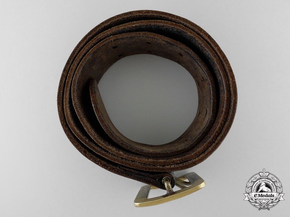 A German Double Open Claw Buckle with Brown Leather Belt