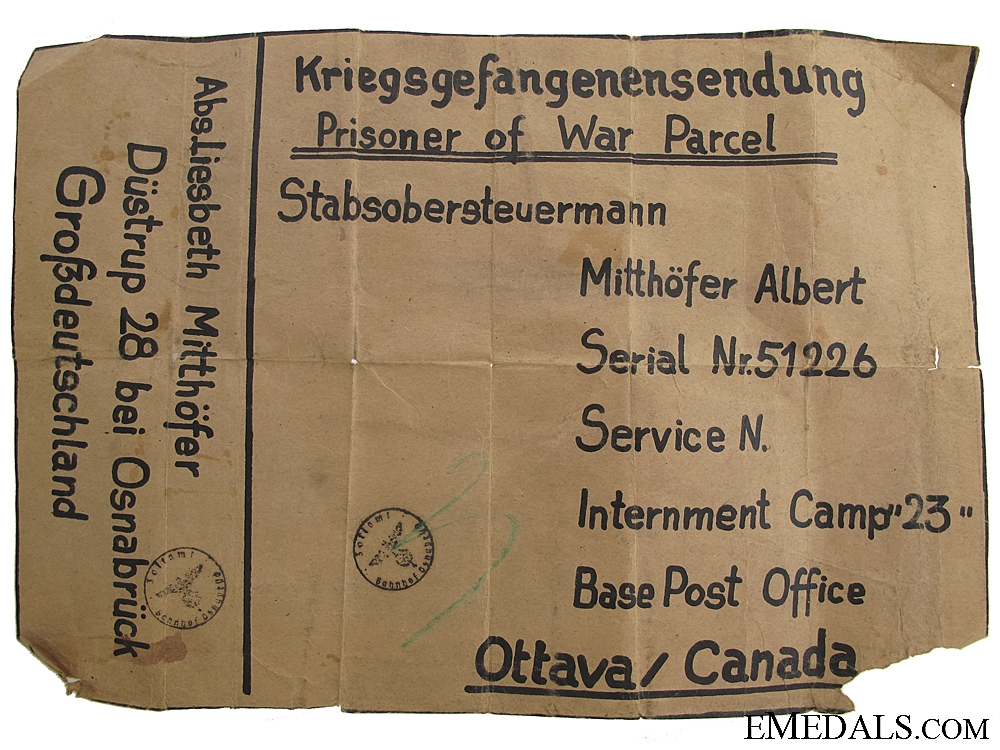 Large German Internment Camp #23 Shipping Label
