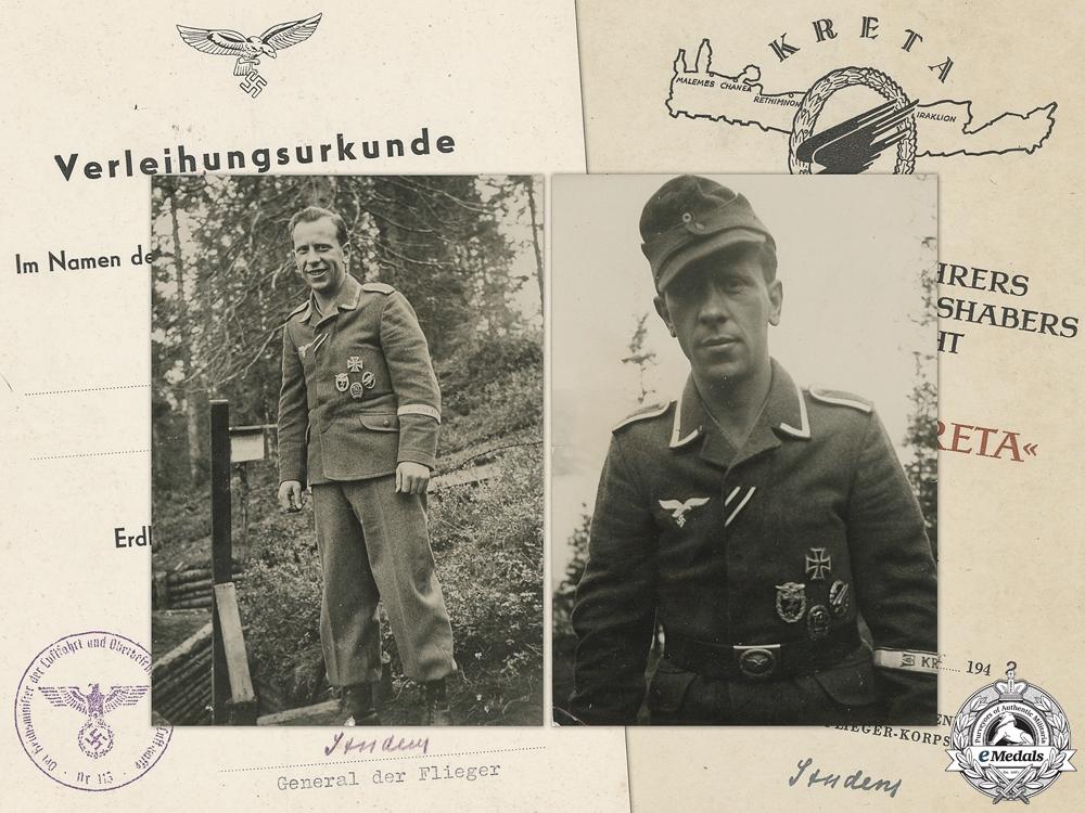 Luftwaffe Award Documents to Oberjäger Hinrich von Glahn