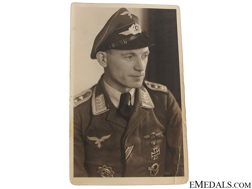Luftwaffe Officer with Caption Photograph