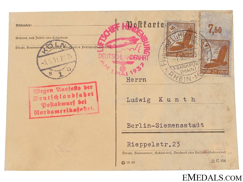 """LZ129 Hindenburg Zeppelin """"Last Flight"""" Postcard 1937"""