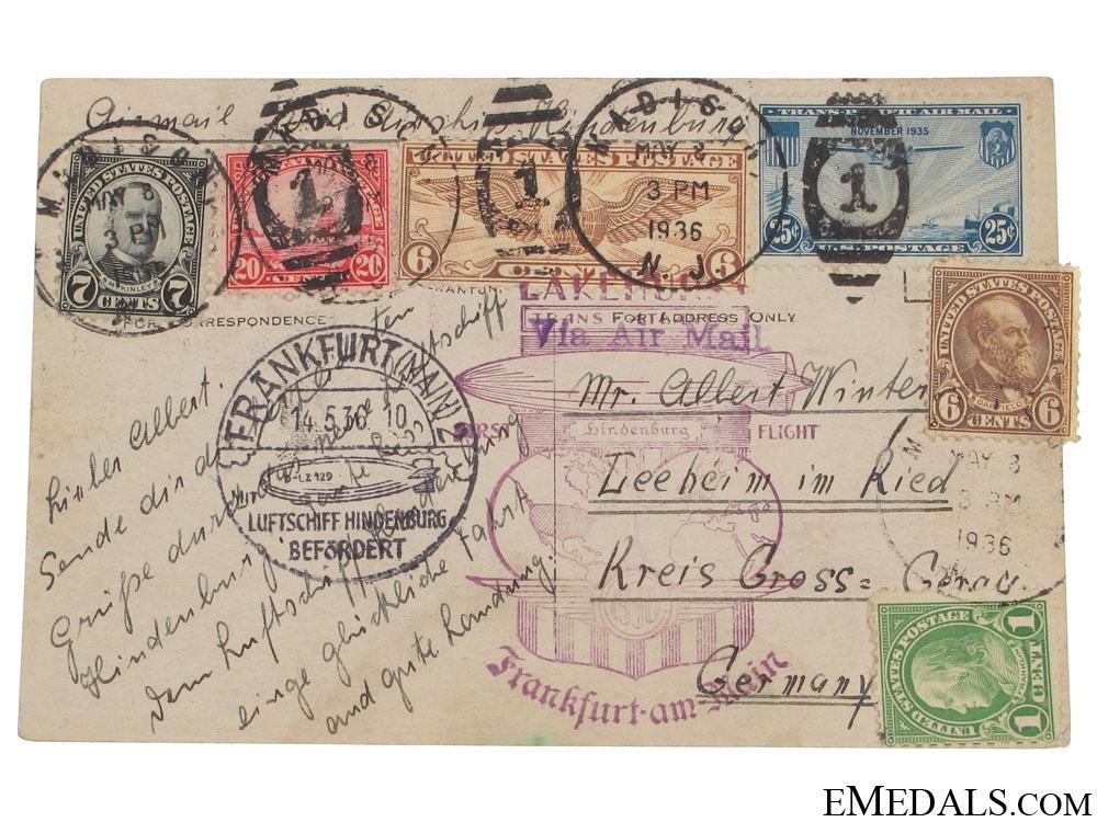 LZ 129 Hindenburg Zeppelin Postcard 1936