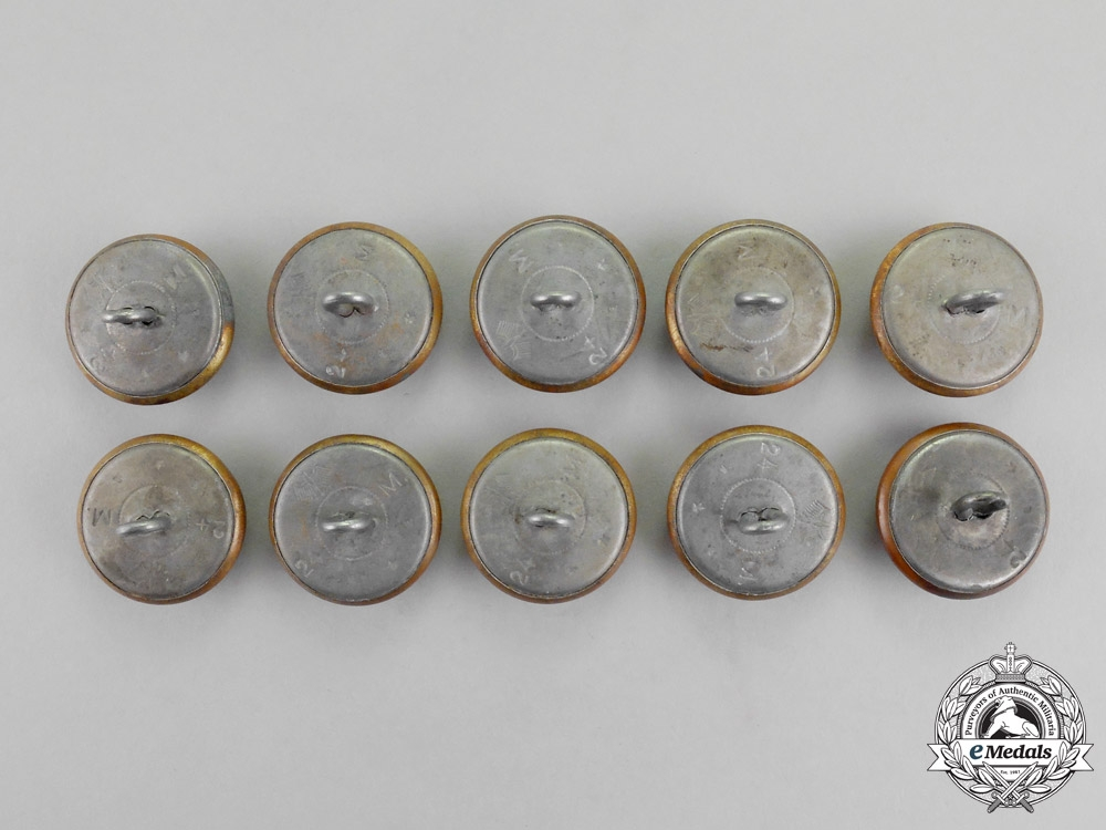 Germany. A Grouping of Ten Post-War Manufacture Naval Buttons