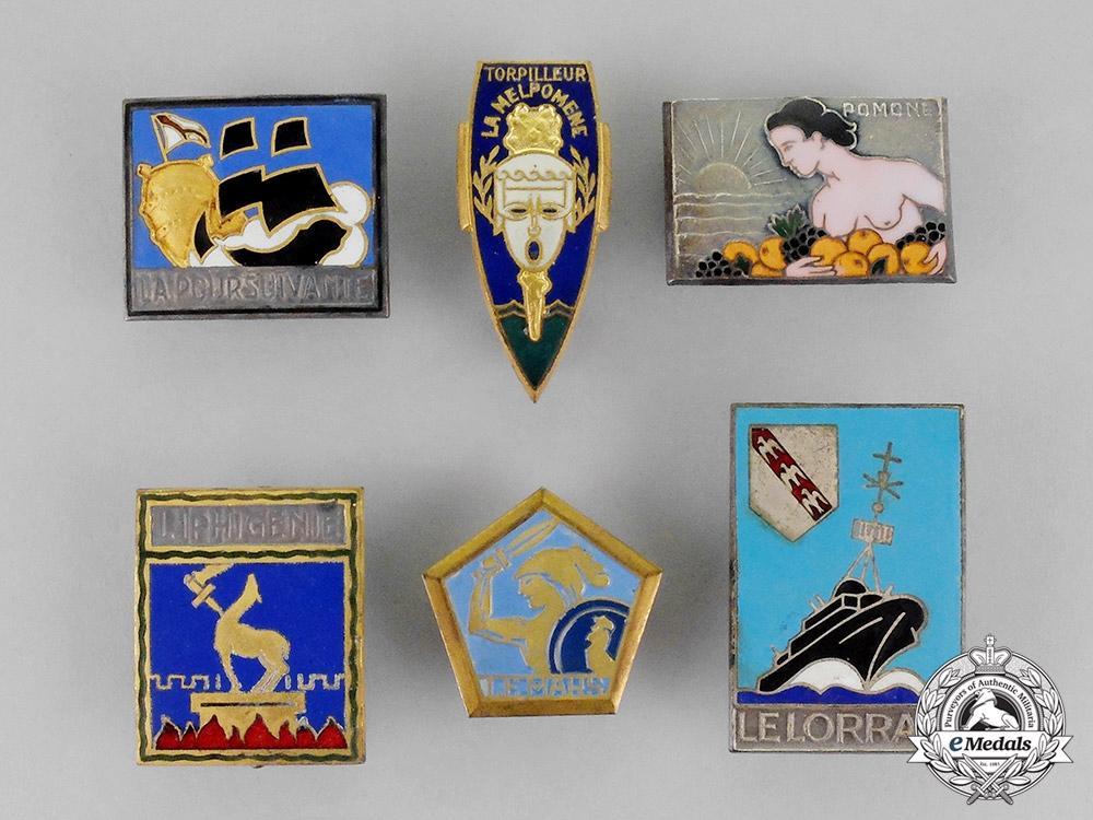 France. Six French Navy Torpedo Boat Badges