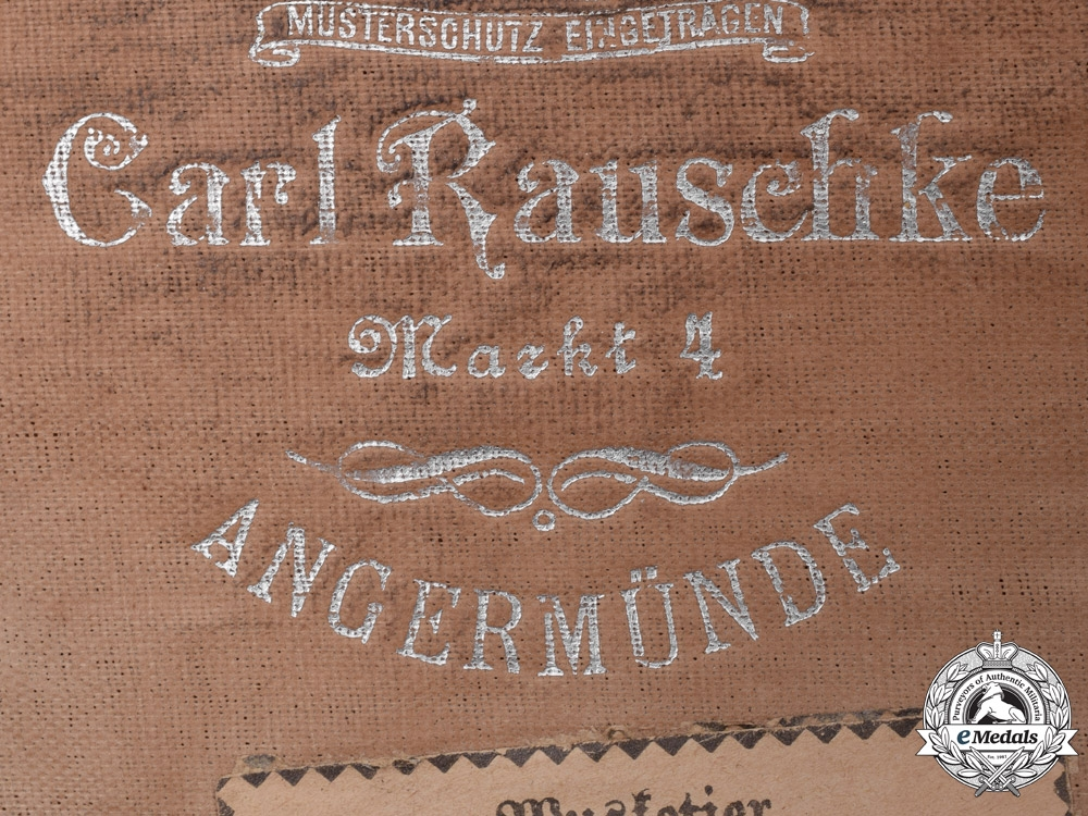Prussia. A Regiment 64, 11th Komp. Visor by Carl Rauschke, Named, c.1915