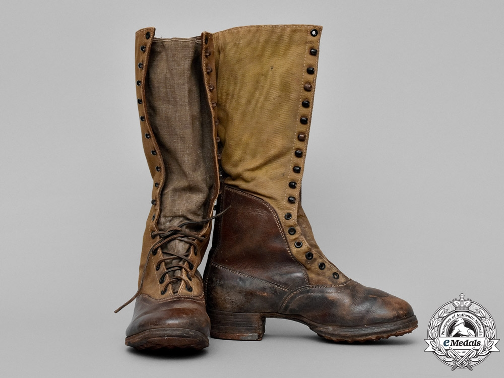Germany. A Pair of Tropical DAK Field Combat Boots, by Columbus Schuhfabrik, Breslau