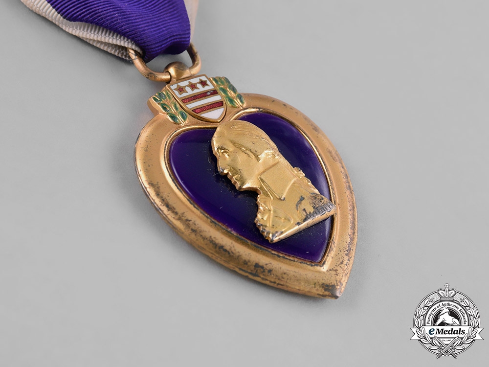 United States. A Purple Heart to Submariner, Fireman I Class Schmidt, USNR, USS Herring KIA