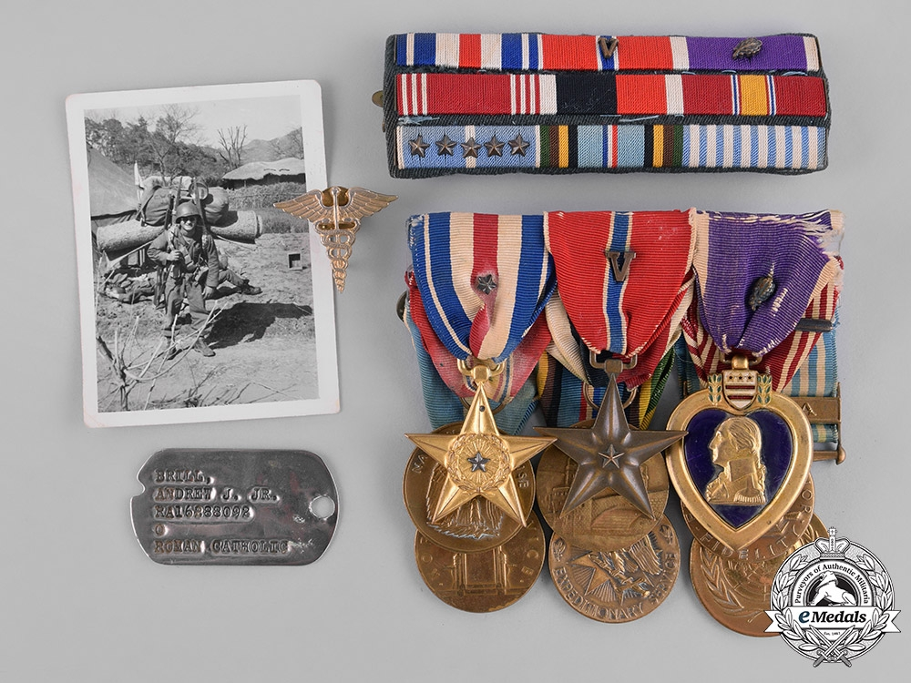 United States. A Korean Silver Star, Bronze Star, Purple Heart Group to Private First Class Andrew Brill