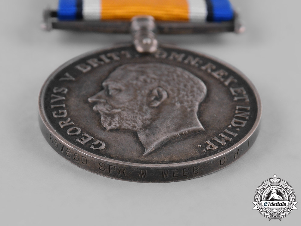 Canada. A British War Medal, to Sapper William Webb, 162nd Infantry Battalion, Canadian Railway Troops