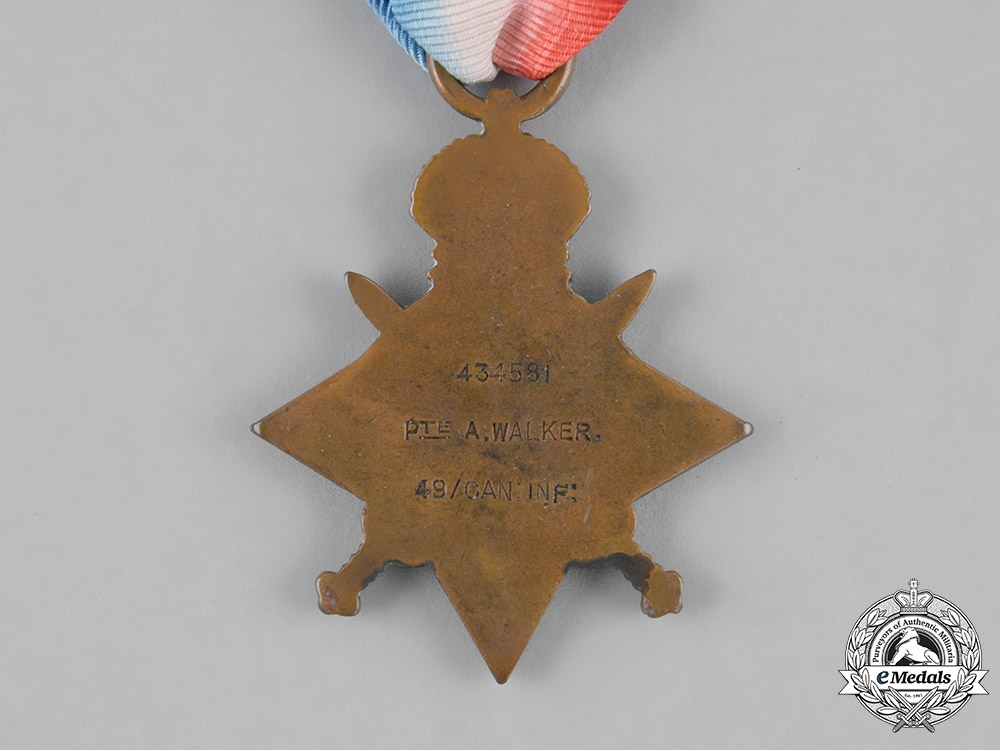 Canada. A First War 1914-15 Star, to Private Andrew Walker, 49th Infantry Battalion, 50th Infantry Battalion