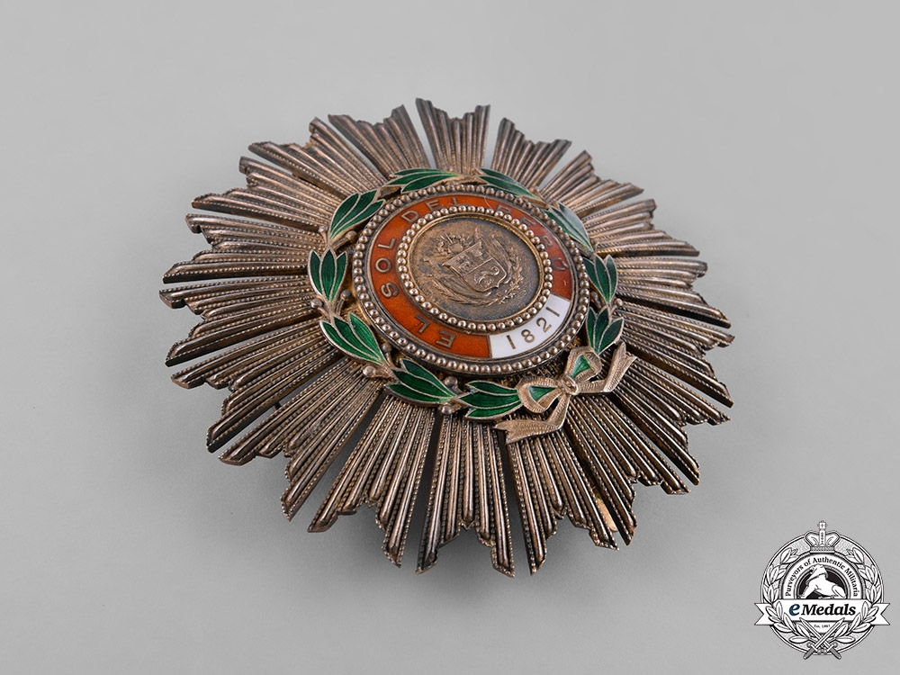 Peru, Republic. An Order of the Peruvian Sun, Grand Cross Star, by G. Lemaitre, c.1860