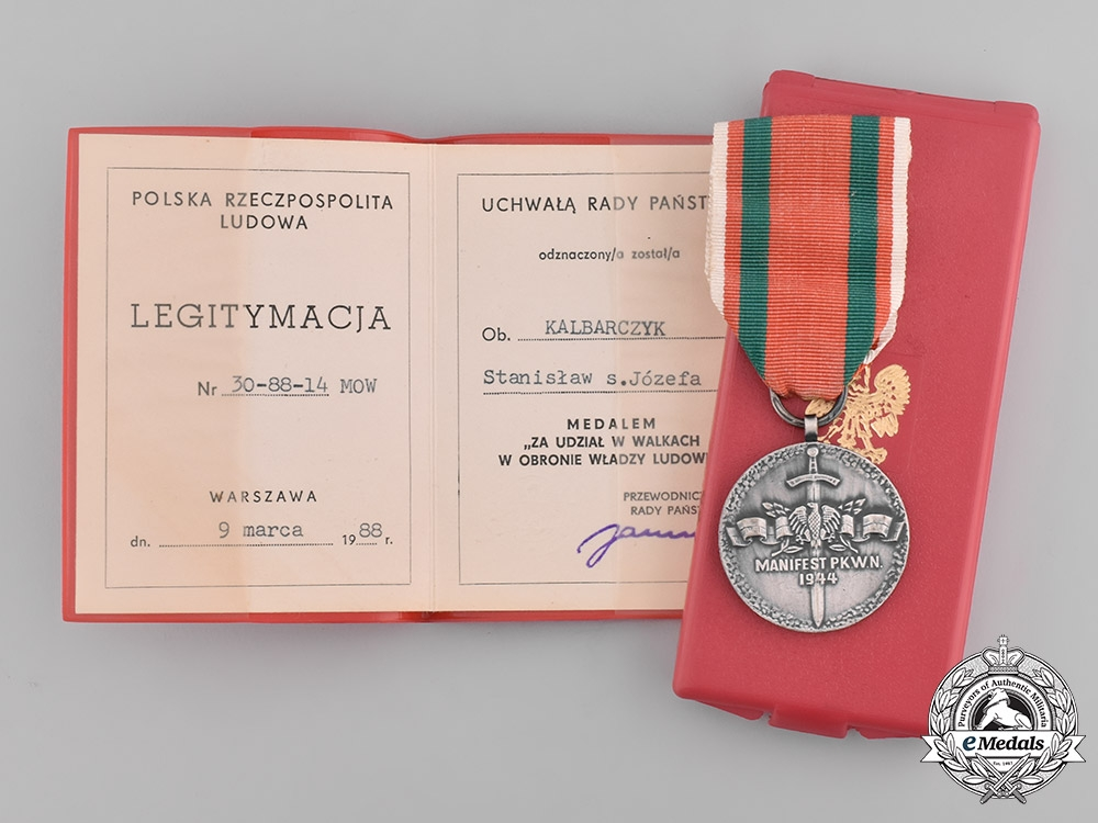 Poland, People's Republic. A Polish Medal for Second War Communist Combatants with Case
