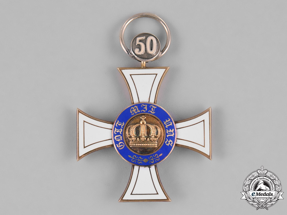 Prussia, Kingdom. A Crown Order in Gold, III Class Cross with 50 Jubilee, by Wagner