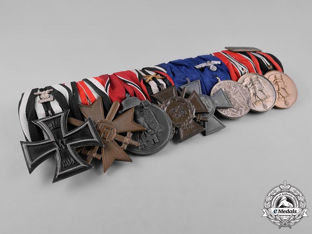 Germany, Third Reich. An EKII Spange, Long Service, & Campaign Medal Bar