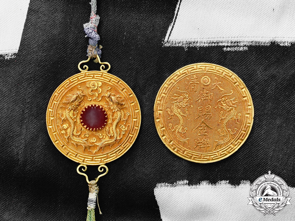 China, Qing Dynasty. An Order of the Imperial Dragon (Bao Xing Merit Medal), I Class Set, c.1875