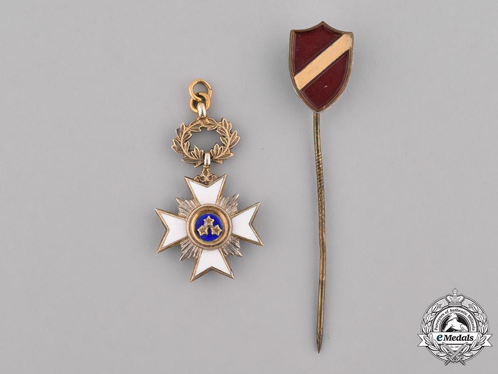 Latvia, Republic. A Miniature Order of the Three Stars and Latvia Shield Stickpin
