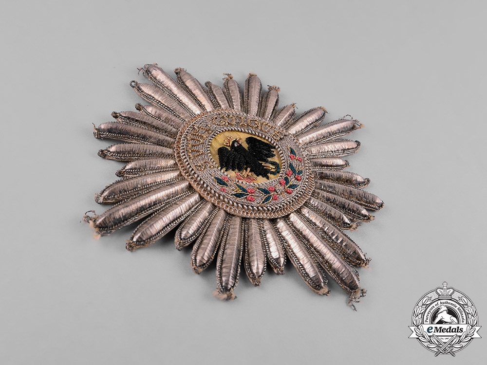 Prussia, State. An Order of the Black Eagle, Embroidered Mantle Star, c.1820