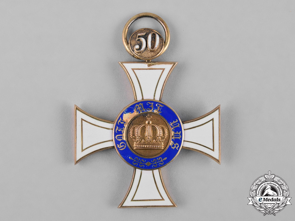 Prussia, State. A Crown Order in Gold, III Class with 50 Jubilee, by Johann Wagner & Sohn, c.1900