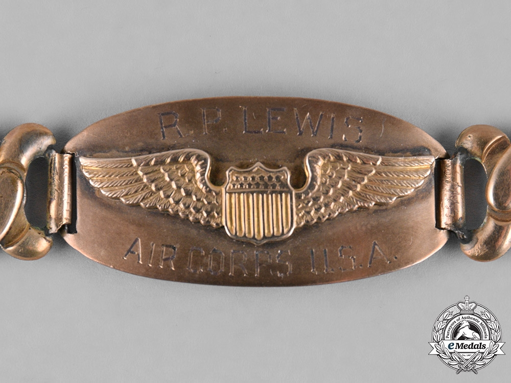 United States. An Amy Air Force Pilot's Identification Wrist Bracelet, Named to R.P. Lewis, c.1941