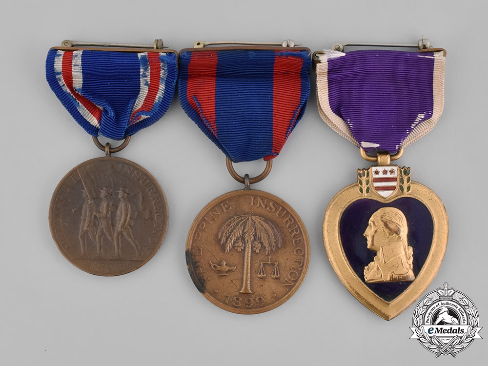 United States. A Purple Heart & Philippines Medal Group to Sgt. George Beckley, WIA in the Battle of Bayan, May 1902
