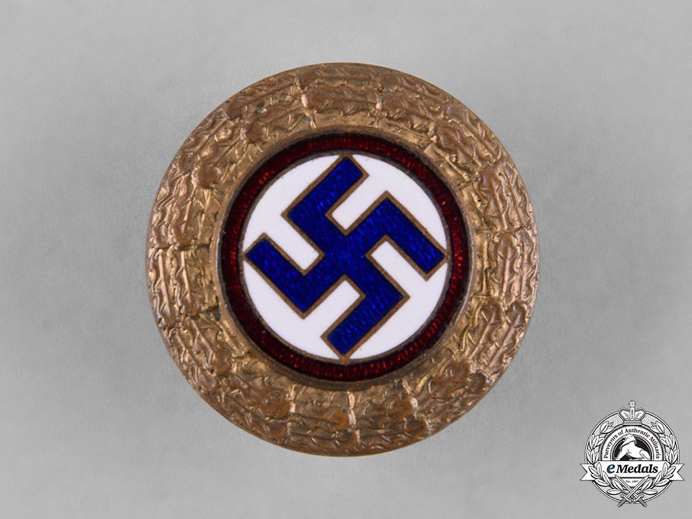 Netherlands, NSNAP. A Rare National Socialist Dutch Workers Party Golden Party Badge