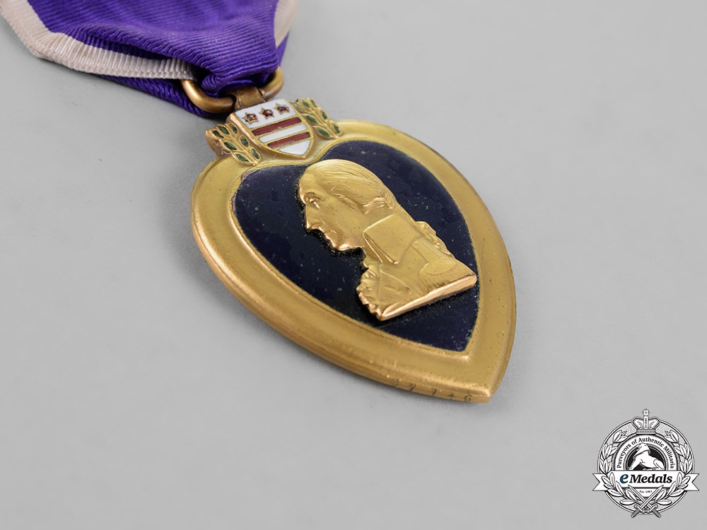 United States. A Purple Heart Group to Private John J. Huether, 129th Machine Gun Battalion, AEF