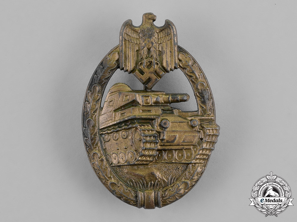 Germany, Wehrmacht. A Tank Assault Badge, Bronze Grade, by Unknown Maker II