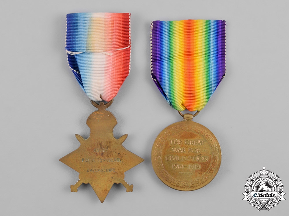 Canada. A First War Pair, to Private Alfred Townsend, 24th Infantry Battalion