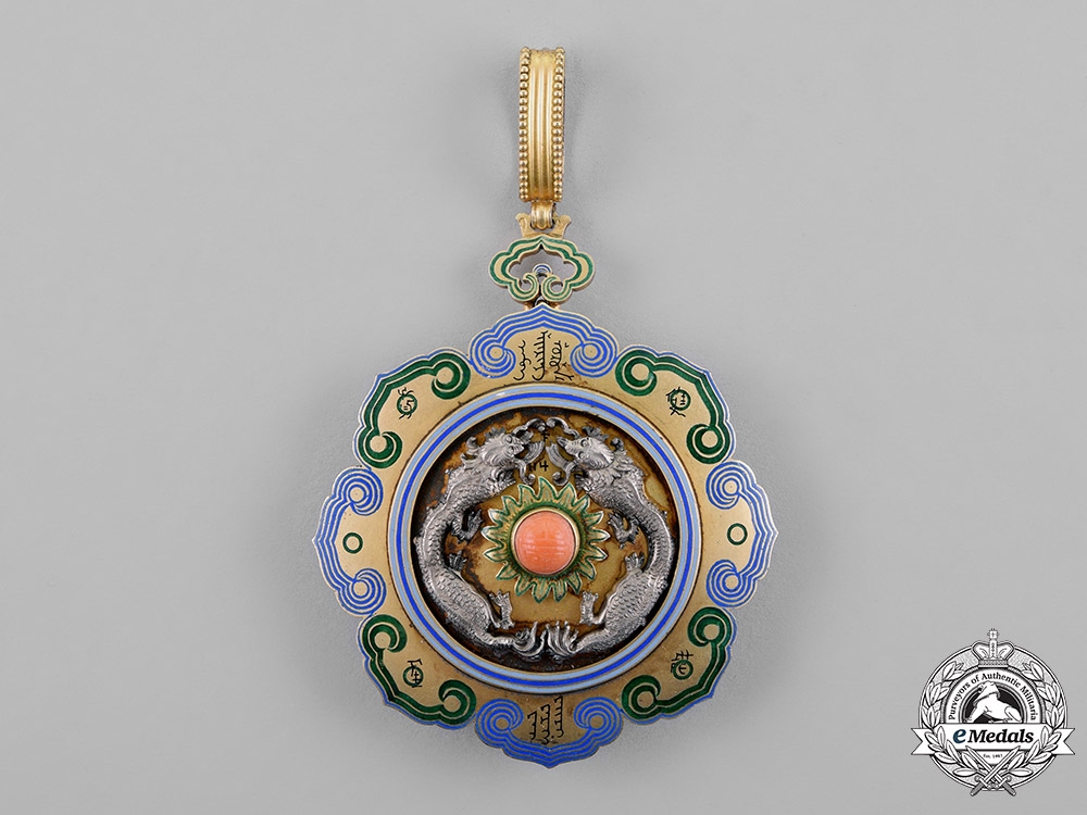 China, Qing Dynasty. A Double Dragon Order, 2nd Class, 2nd Grade, by F.Rothe, c.1890