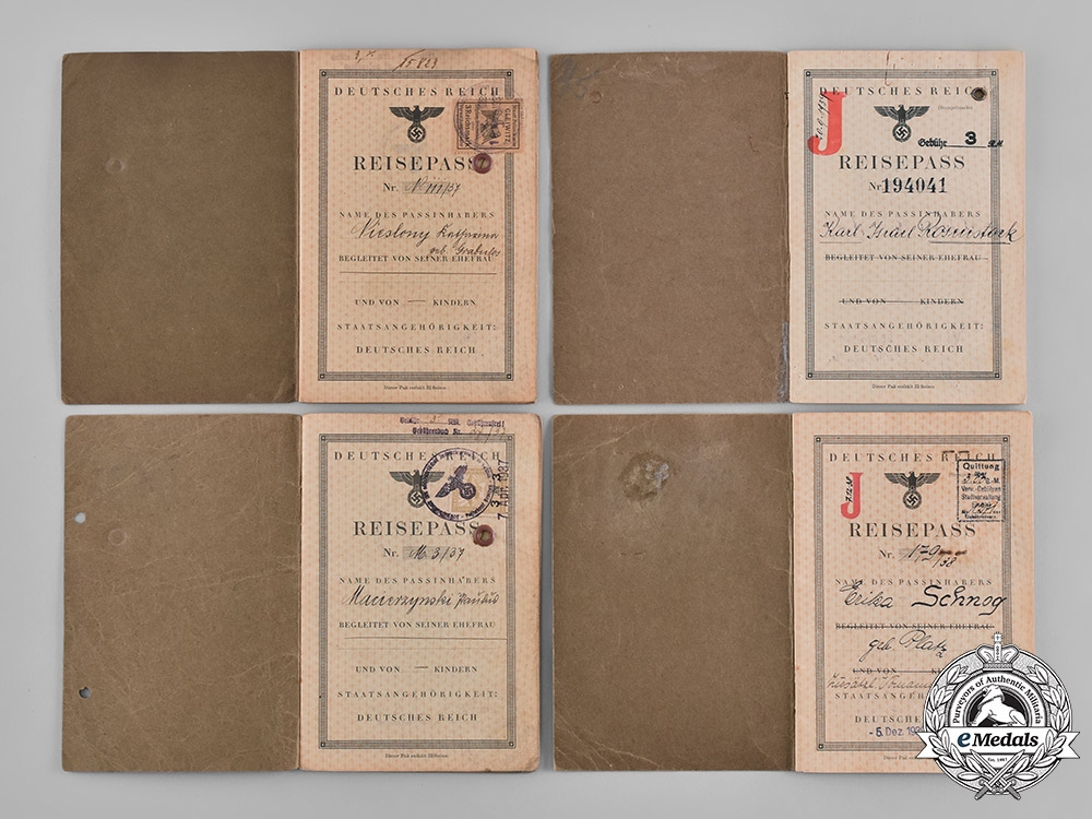 Germany, Third Reich. A Lot of Four Third Reich Passports