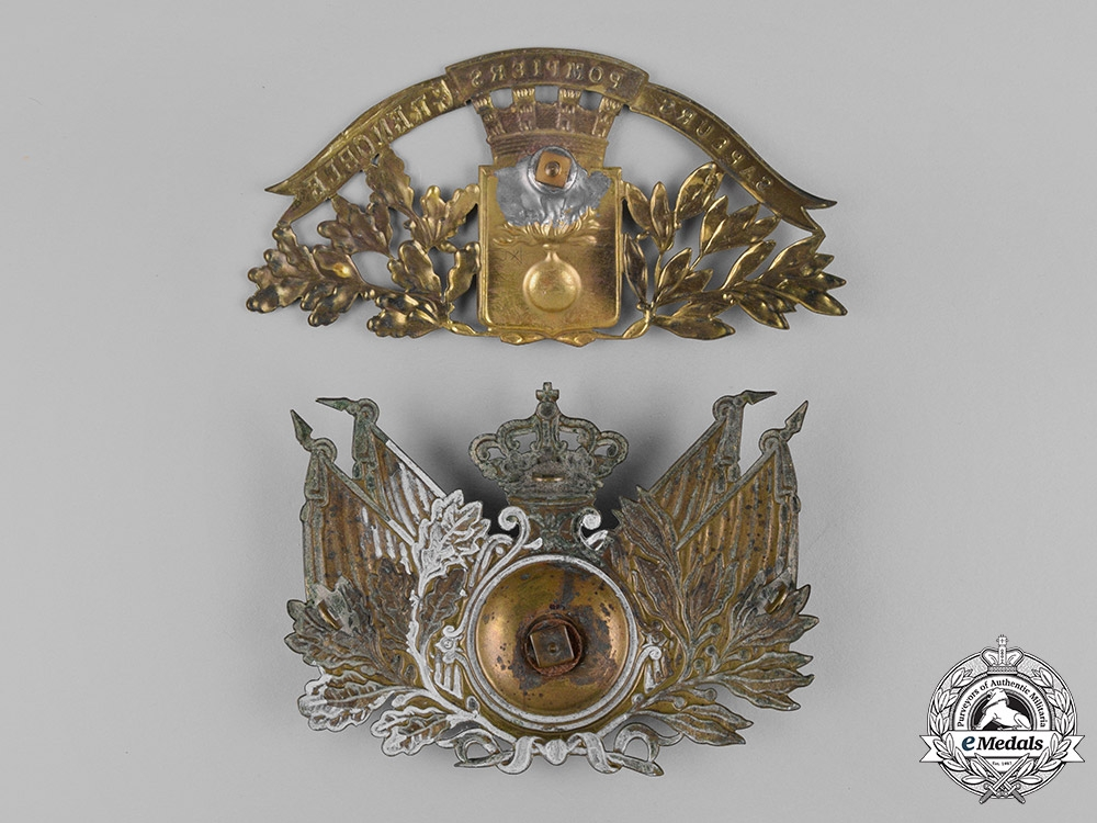 France, Republic. Two Helmet Plates