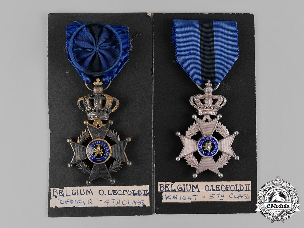 Belgium, Kingdom. Two Orders of Leopold II, IV Class Officer and V Class Knight