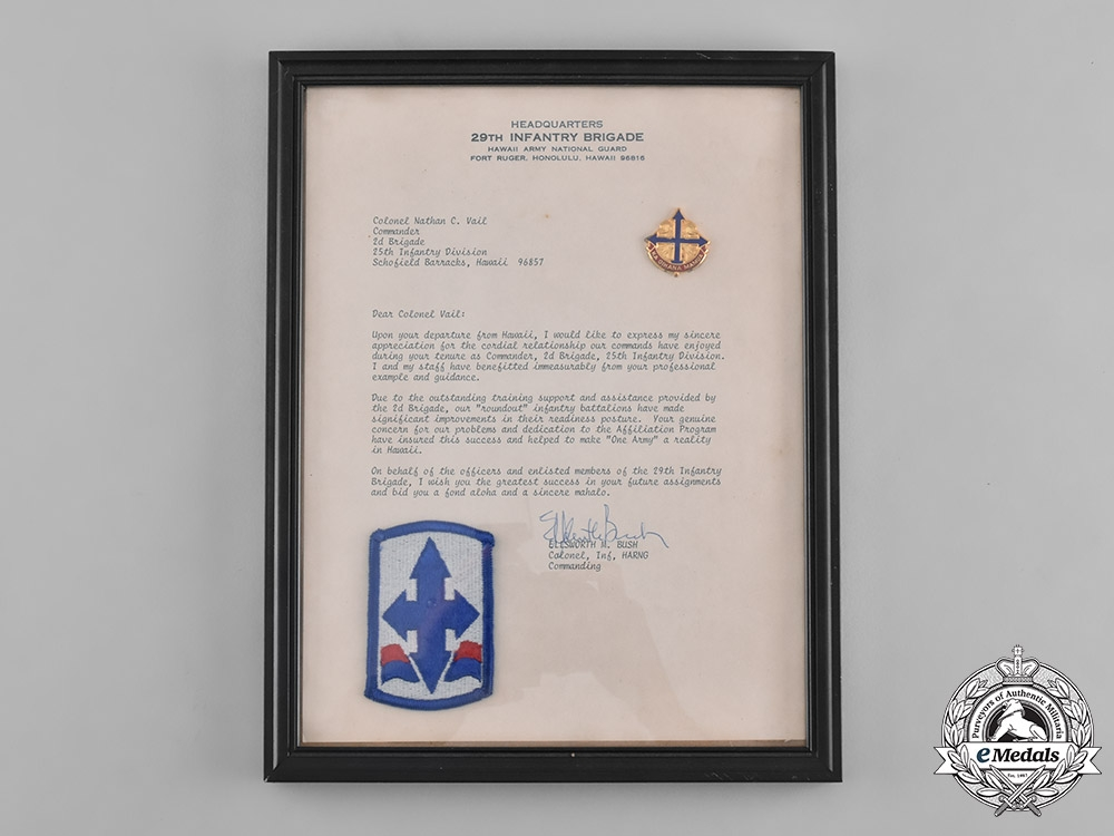 United States. A Sidecap & Insignia to Colonel Nathan Vail, 25th Infantry, Vietnam and Cambodia.