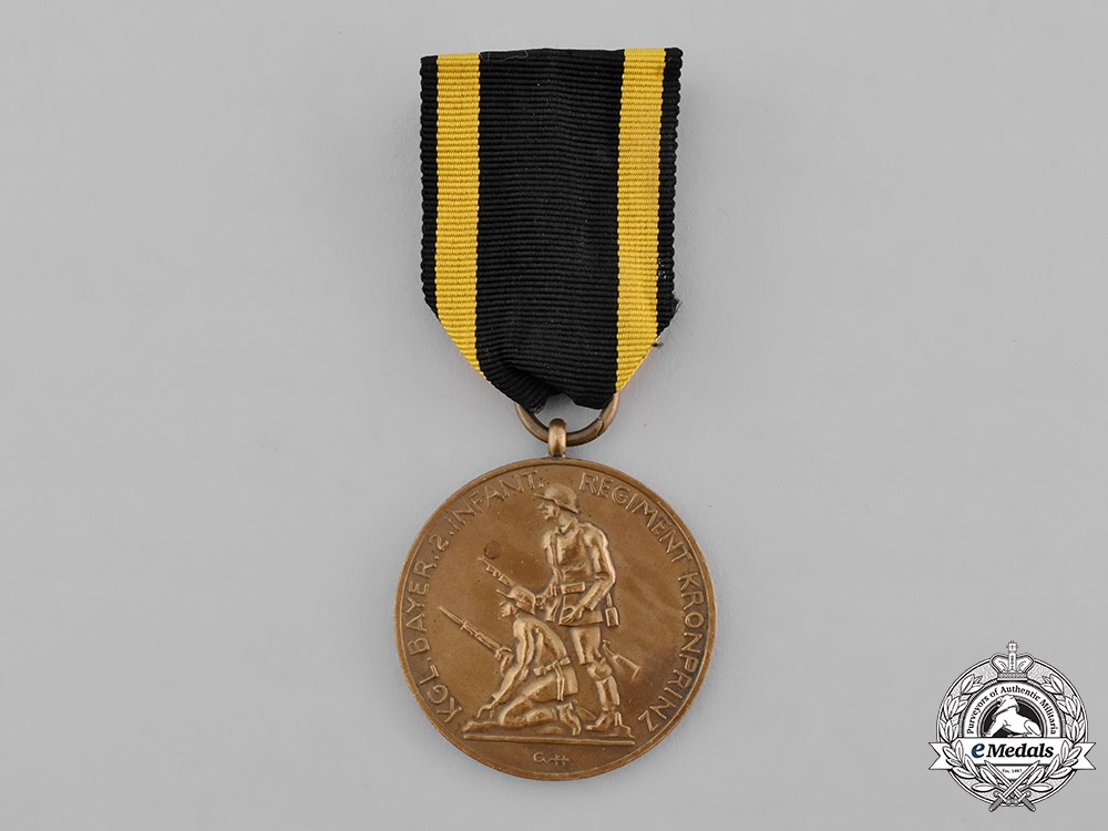 Bavaria, Free City. An Anniversary Medal of the 2nd Royal Bavarian Infantry Regiment