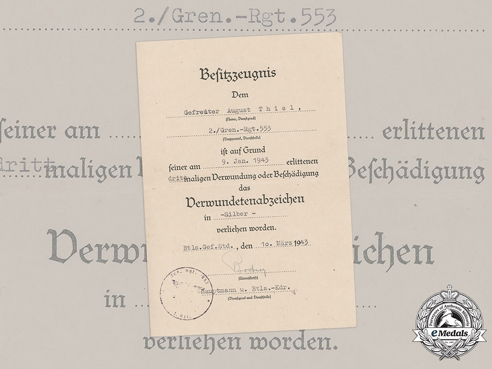 Germany, Heer. An Award Document for a Wound Badge, Silver Grade